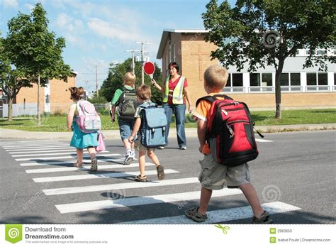 at the crossing students crossing royalty free stock photo image