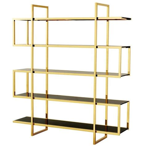 gold bookshelves gold bookshelves in gold finish and smoke glass for sale at 1stdibs