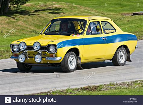 ford mk1 historic rally car on rallying track at