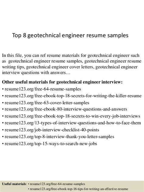 Geotechnical Engineer Sle Resume by Top 8 Geotechnical Engineer Resume Sles