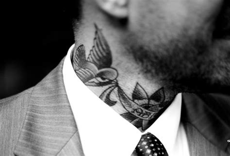 neck tattoo with suit suits tattoos and body art and neck tattoos on pinterest
