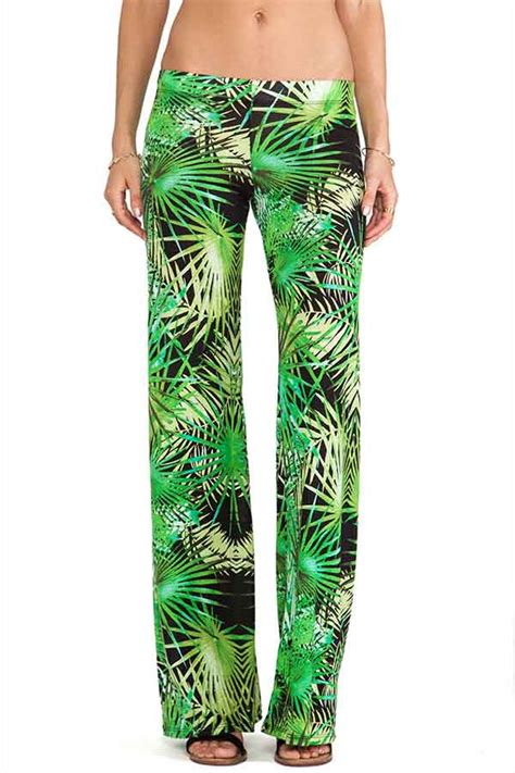 green tropical rainforest print pants   women