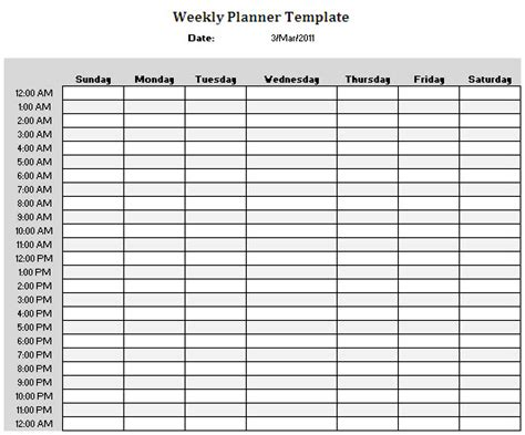 24 hour daily planner template 24 hour weekly schedule printable calendar template 2016