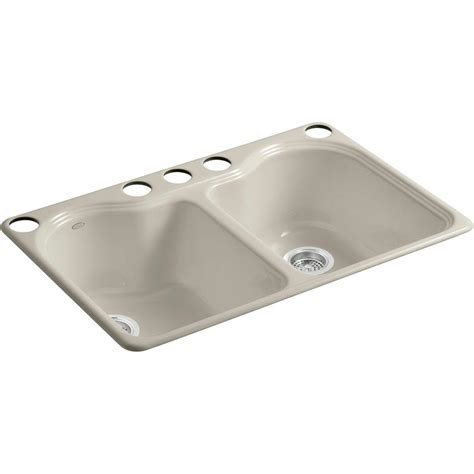 undermount kitchen sink with faucet holes kohler hartland undermount cast iron 33 in 5 hole double
