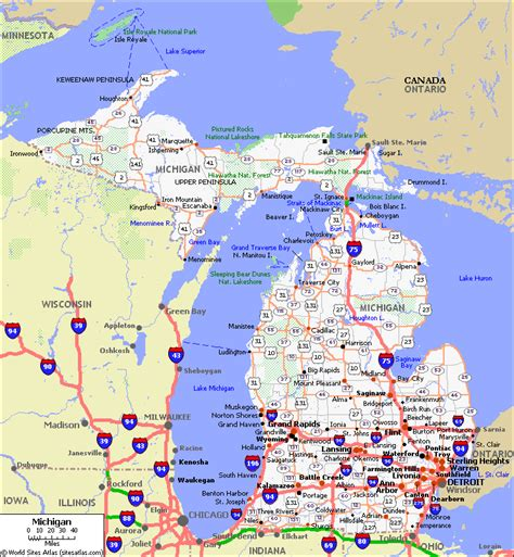 road map of michigan detailed map of michigan pictures to pin on pinsdaddy