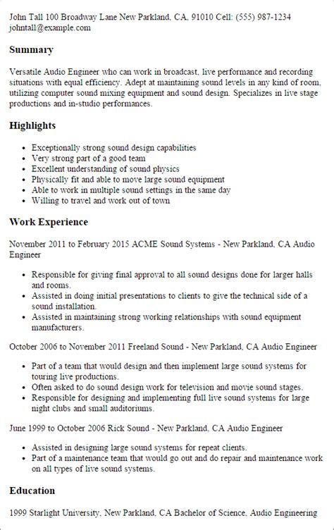 Audio Engineer Resume by Professional Audio Engineer Templates To Showcase Your