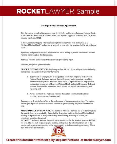 managed service contract template management services agreement create a free template