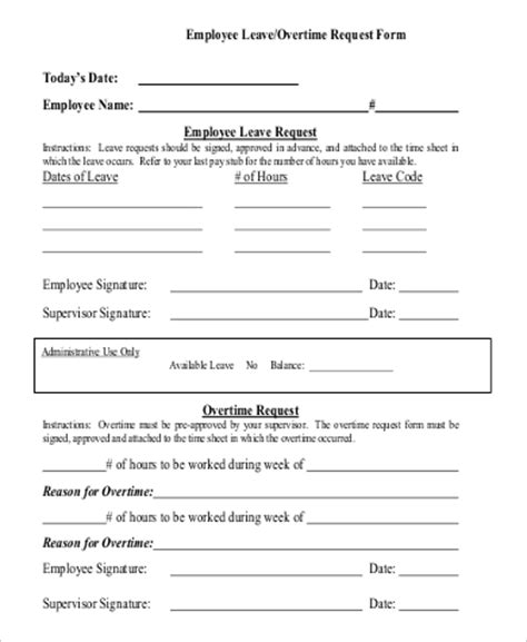 Request Letter Sle For Overtime 9 Sle Overtime Request Form Exles In Word Pdf
