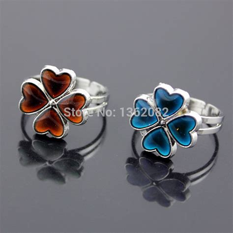 Three Leaf Flower Shape Beautiful Mood Ring The Best Mood Ring aliexpress buy magic color changing clover mood