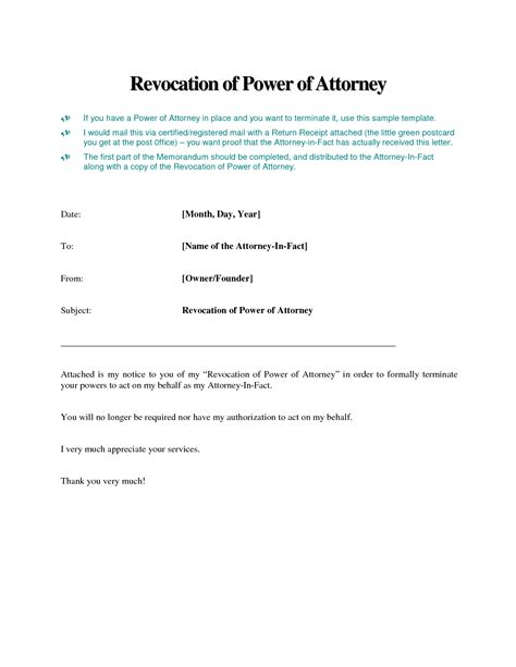 Sample Power Of Attorney Letter Template   Best Business