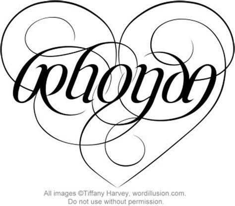quot rhonda quot ambigram heart a custom ambigram of the name