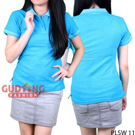 Polo Shirt Polos Kaos Polos Pique Cotton Pique polo shirts polos wanita cotton pique biru turkis plsw