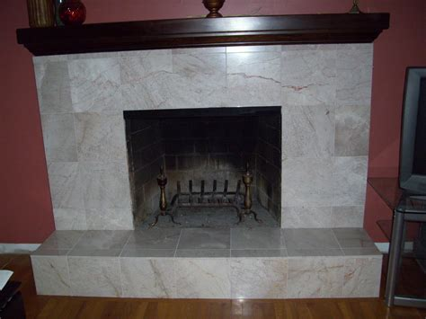 covering brick fireplace with ceramic tile decor4poor fireplace makeover