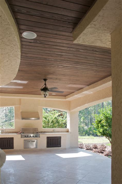 Outdoor Patio Wood Ceiling by Faux Wood Beam Ceiling Designs Traditional Patio New