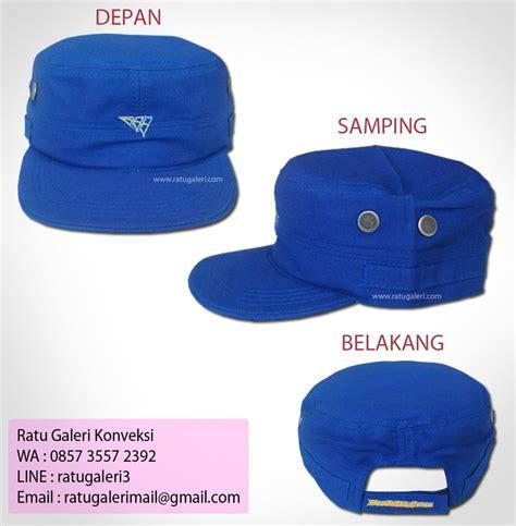 Topi Pettino Biru Benhur hasil produksi dan desain topi mandalika gresskonveksi surabaya kaos seragam dan pabrik jaket