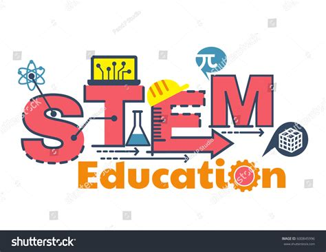 typography stem illustration stem education word typography design stock