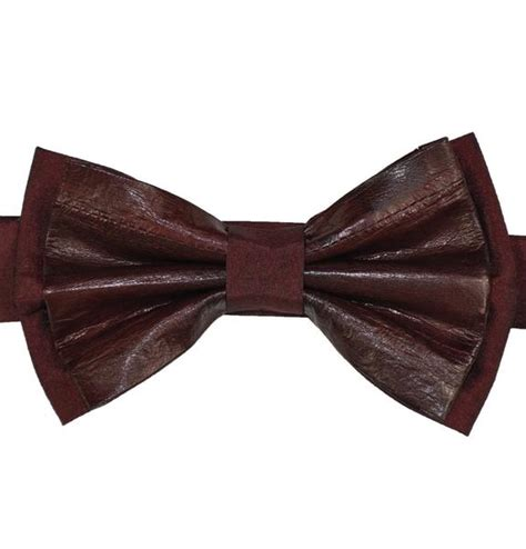 burgundy leather bow tie kitoko