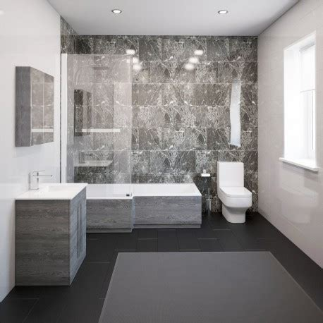 Modern Bathroom Suite by Thorpe Complete Modern Grey Ash Bathroom Suite With Left