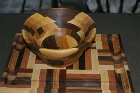 segmented bowl matches cutting board woodworking