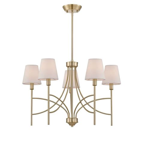 World Imports Chandelier World Imports Millau Collection 5 Light Satin Gold Chandelier With Fabric Shade Wi975211 The