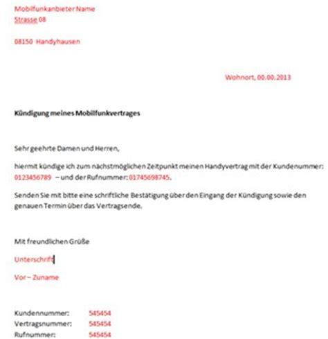 Musterbrief Kündigung Handyvertrag Mit Rufnummernmitnahme Handyvertrag K 252 Ndigen So Wirds Gemacht Inkl Vorlage
