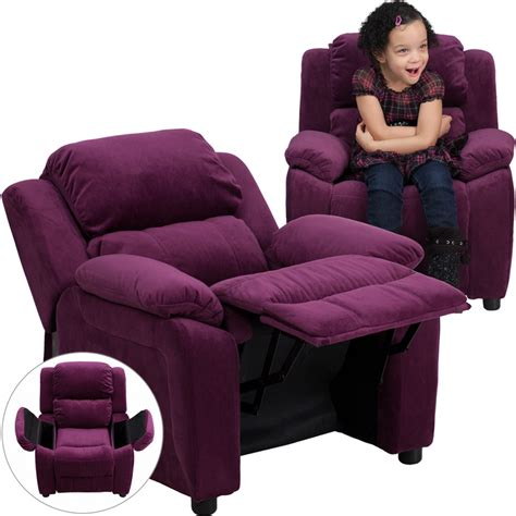 Recliners With Storage by Deluxe Padded Purple Microfiber Recliner With Storage Arms