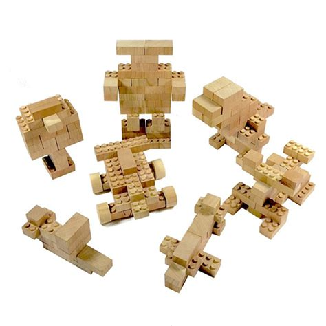 wood lego house eco bricks are made from cherry wood for greener lego play