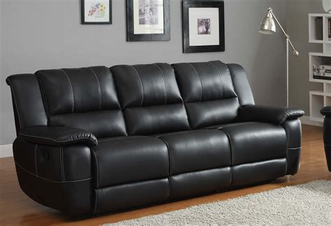 Homelegance Cantrell Reclining Sofa Set Black Bonded Black Reclining Leather Sofa