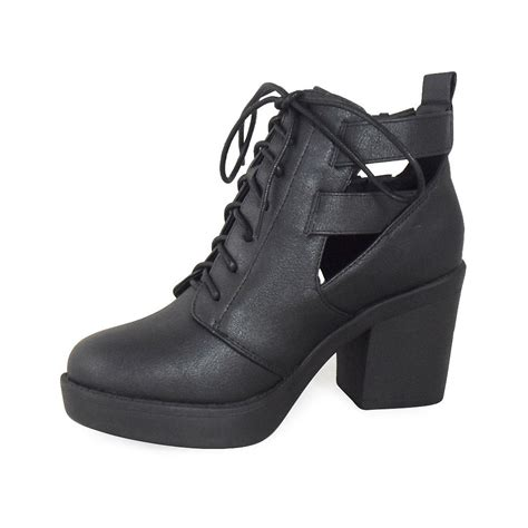 side buckle lace up heel ankle boots parisia fashion