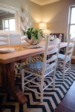 Dining Room With Chevron Rug Chevron Rug Heavy Wood Dining Table Ladder Back Chairs