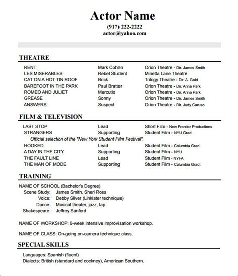 acting resume no experience template how to create a