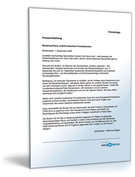 Musterbriefe Zum Kennenlernen Pressemitteilung Kostenlose Produktproben Unternehmen