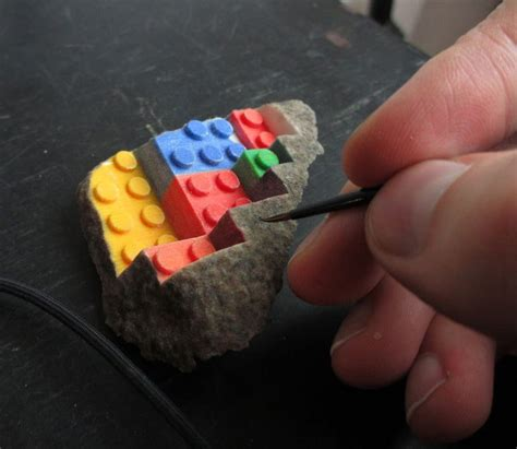 Painting 3d Printed by 3d Printed Lego Block Blended Into A Chipped Step