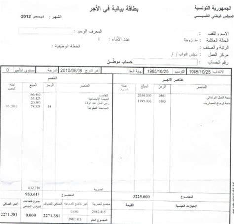 paie tunisie fiche de paie bulletin de paie fiche de paie
