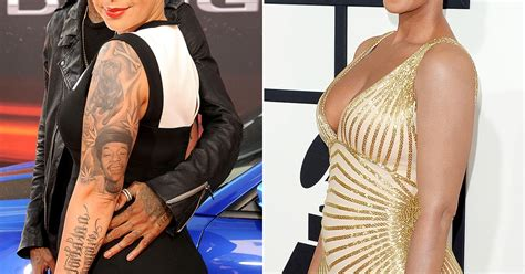 amber rose leg tattoo covers tattoos at 2014 grammys see the