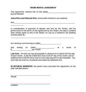 Sle Agreement Letter For Room Rental Room Rental Agreement 17 Free Documents In Pdf Word