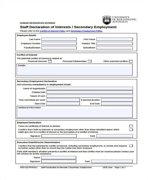 conflict of interest form for employees