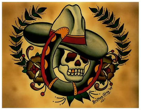 skull with hat tattoo designs 28 traditional cowboy tattoos