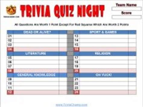 Printable Pub Quiz Sheets Free Printable Trivia Questions Answers Games Quiz Competition Score Sheet Template