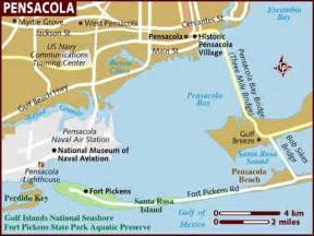 pensacola florida on map map of pensacola