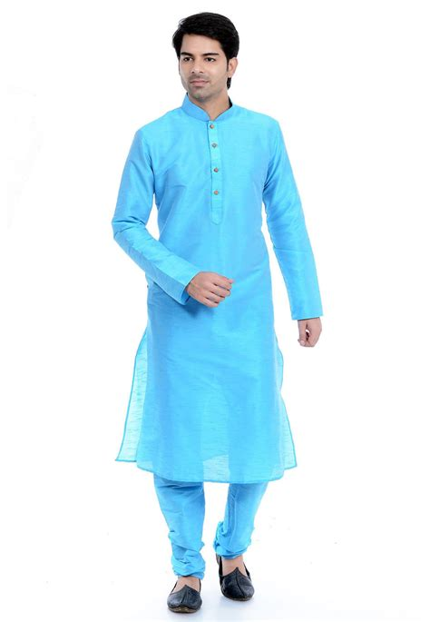 kurta colors plain dupion silk kurta pajama in light blue mtr24