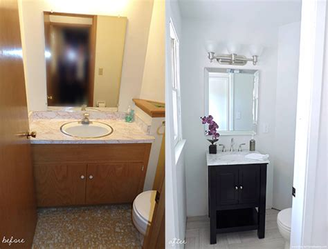 half bathroom makeovers half bathroom makeover before after the chambray bunny