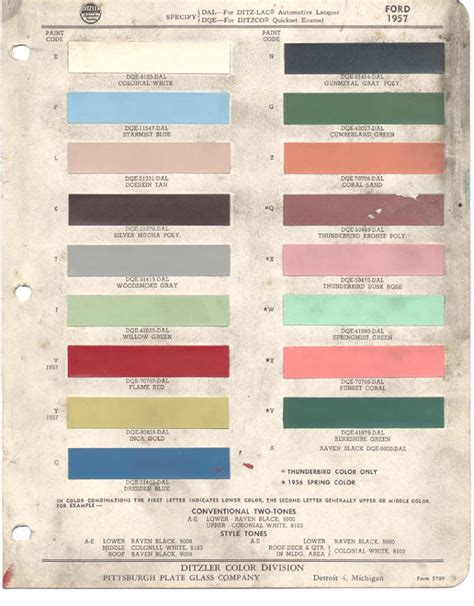ford paint color chart chart