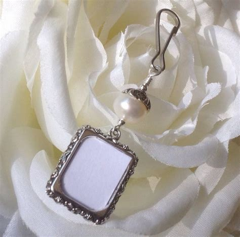 Wedding Bouquet Picture Charm by Wedding Bouquet Photo Charm Pearl Photo Charm Memorial