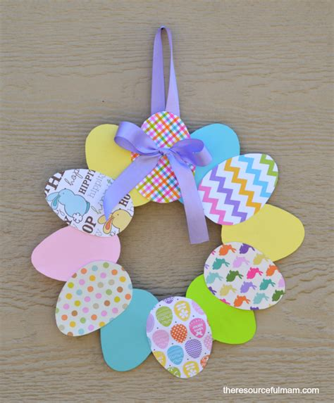 Paper Easter Crafts - paper easter egg wreath family crafts