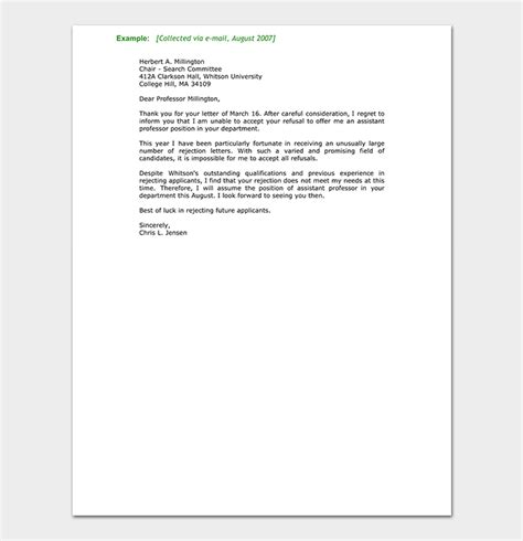 college rejection letter template rejection letter template 38 free sles formats