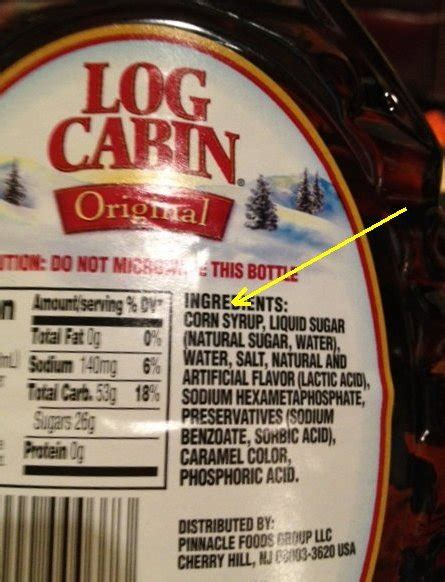 Log Cabin Syrup Ingredients does not contain high fructose corn syrup