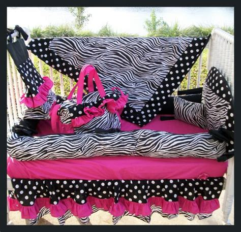 Hot Pink Black Zebra Polka Dots Crib Bedding Set Pink Zebra Crib Bedding