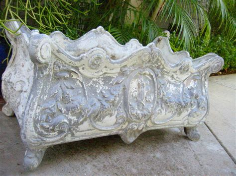 Metal Planter Boxes For Sale by Baroque Style Planter Box In White Metal