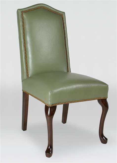 leather queen anne dining chair  inset nailhead trim